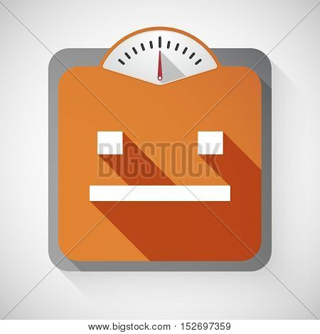 Isolated Long Shadow Body Weight Scale With A Emotionless Text Face