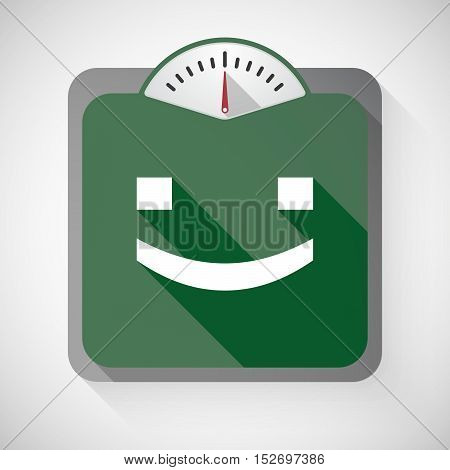 Isolated Long Shadow Body Weight Scale With A Smile Text Face