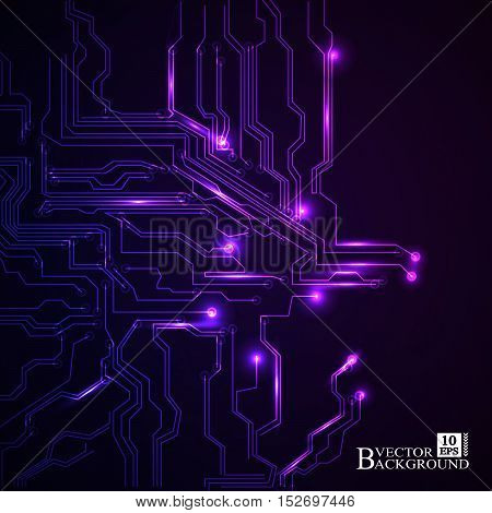 Circuit board vector purple background. Vector illustration