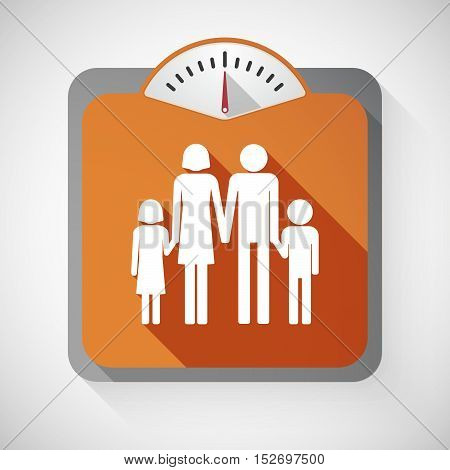 Isolated Long Shadow Body Weight Scale With A Conventional Family Pictogram