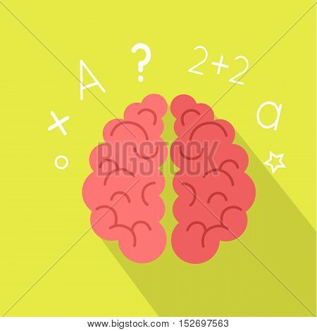 Creative concept of the human brain with long shadow. Brain icon. Brain banner. Creative brain idea. Think design. Brainstorm concept. Vector illustration on green background. Science background