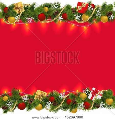 Vector Christmas Border with Garland 2 isolated on white background