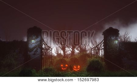 Two Halloween Pumpkins At Spooky Gate On Misty Night.
