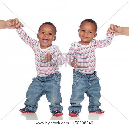 Funny couple of identical brothers learning to walk isolated on a white background