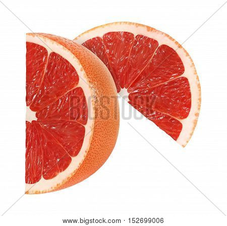 cut grapefruit fruits slices isolated on white background with clipping path