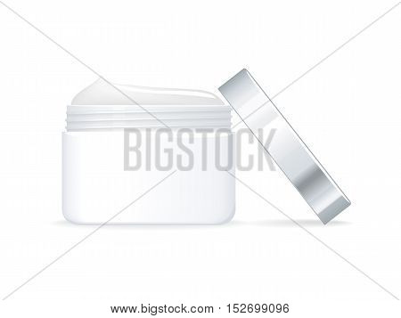 Cosmetic cream vector illustration. Flat design. Face and hands skin care. White cream jar with open cap.  Personal hygiene and makeup. For woman beauty concepts, cosmetic brand ad. Isolated on white