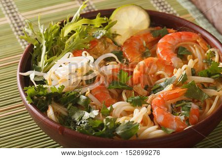 Malaysian Laksa Soup With Prawns Close Up In A Bowl. Horizontal