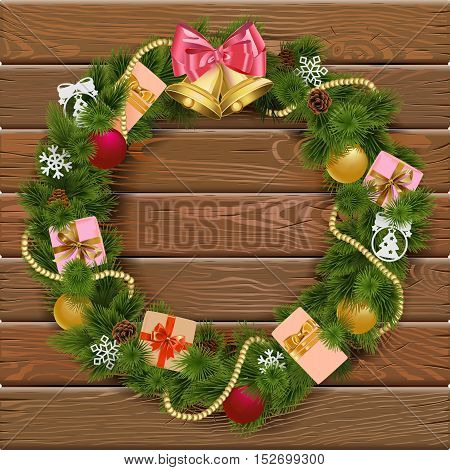 Vector Christmas Wreath on Wooden Board 8 with gifts snowflakes golden beads and bell