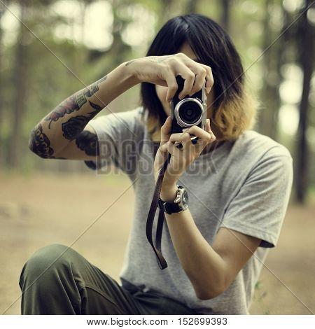 Photographer Camera Man Shooting Woods Nature Concept