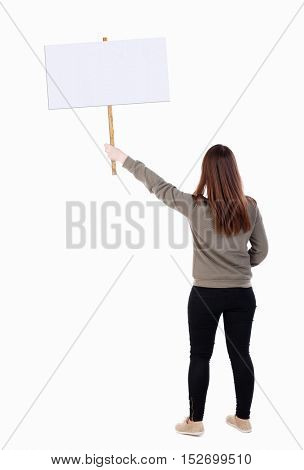 Back view woman showing sign board. man holds information plate. Rear view people collection. backside view of person. Isolated over white background. Full girl in black tights on strike.