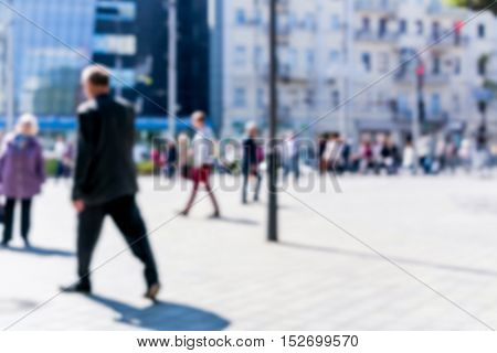 Blurred image of the area on which people walk.