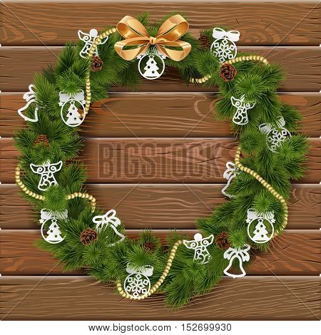 Vector Christmas Wreath on Wooden Board 9 with paper decorations and golden bow