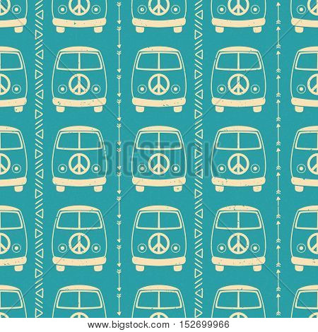 Hippie vintage car a mini van. Ornamental background. Love and Music with  hand drawn doodle background and textures. Hippy color vector illustration. Retro 1960s, 60s, 70s
