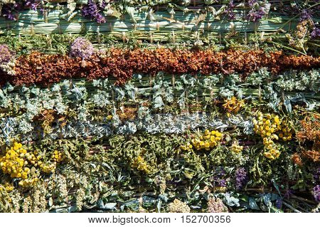 Texture Background Dry Grass Collected In The Mat. Excellent Flavored Design Solution. Vegetation Co
