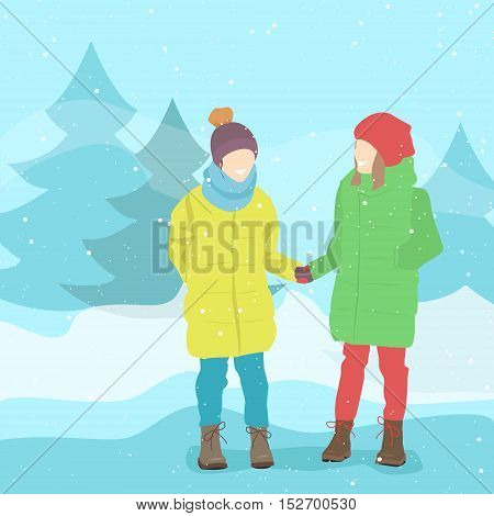 Girl friends in winter clothes. Winter landscape snow. Vector