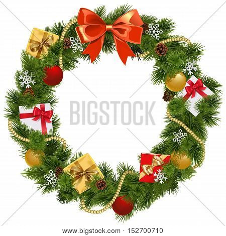 Vector Christmas Wreath with Red Bow isolated on white background