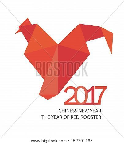 Red fire rooster in origamy style as symbol of new year 2017 in Chinese calendar. Vector illustration.