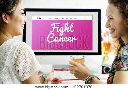 Pink Ribbon Cancer Presentation Concept