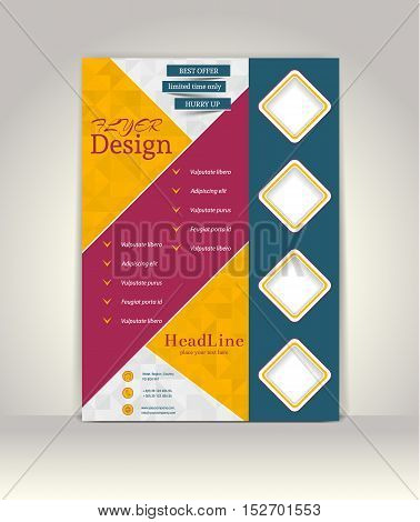 Flyer brochure or magazine cover template.Abstract Geometric Colourful Design, Advertising Vector Background
