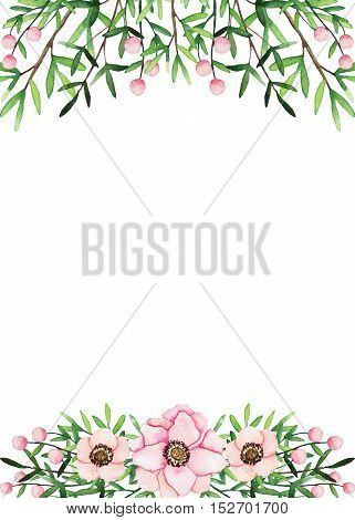 Watercolor Frame with Shabby Flowers and Light Green Leaves