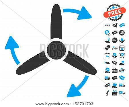 Three Bladed Screw Rotation icon with free bonus symbols. Vector illustration style is flat iconic symbols blue and gray colors white background.