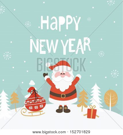 New Year Greeting Card. New Year lettering with Santa. Vector illustration.