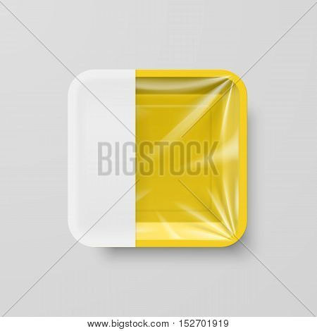 Empty Yellow Plastic Food Square Container with Empty Label on Gray