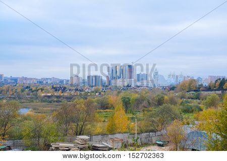 Landscape with the image of Moscow residential district