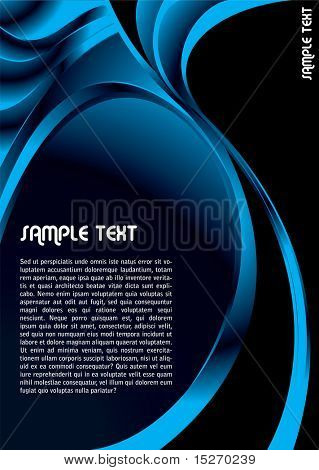 Modern abstract background in blue and black with copy space
