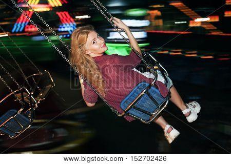 Swing Spinning Amusement Carnival Enjoyment Concept