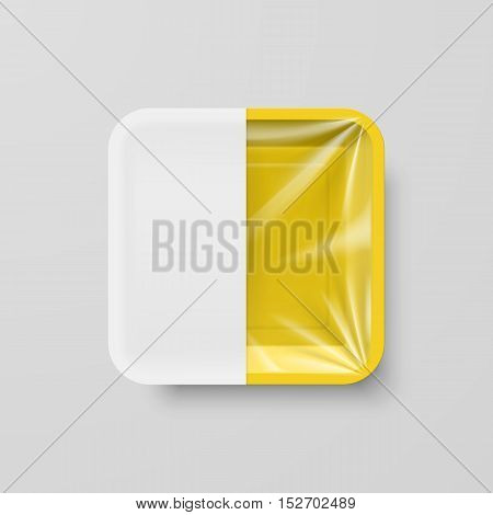 Empty Yellow Plastic Food Square Container with White label on Gray Background