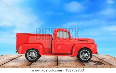 car pick up on wooden background 3d render