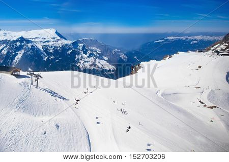 Aerial View Of Swiss Alps