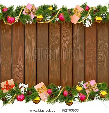 Vector Seamless Christmas Border with Gifts on Wooden Board isolated on white background