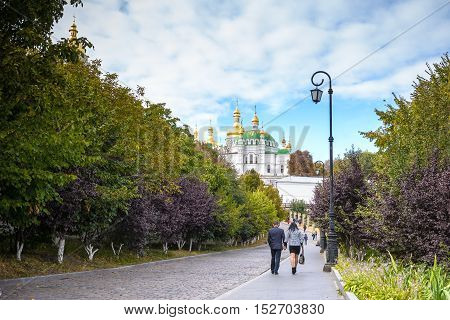 KIEV UKRAINE - MAY 20:unidentified tourists are visiting Kiev Pechersk Lavra - national historic-cultural sanctuary monastery and unesco heritage site on May 202012 in KievUkraine.
