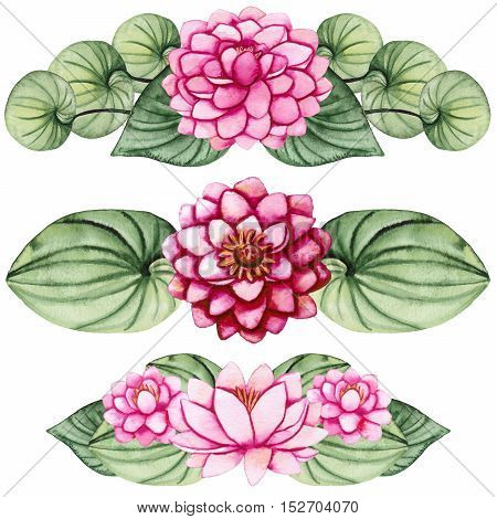 Set of Watercolor Bouquets with Pink Lotus and Water Lily
