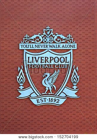 LIVERPOOL UK. 17TH SEPTEMBER 2016. Liverpool Football Club crest on the new main stand