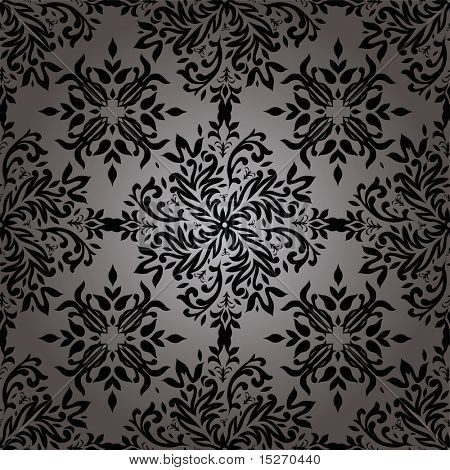 illustrierte Wallpaper Design mit ein floral Design in schwarz