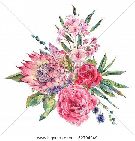 Classical vintage floral greeting card, watercolor bouquet of roses, protea, stachys, thistles, blackberries and wildflowers, botanical natural watercolor illustration isolated on white Background