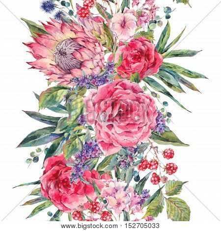 Classical vintage floral seamless border, watercolor bouquet of roses, protea, stachys, thistles, blackberries and wildflowers, botanical natural watercolor illustration isolated on white background