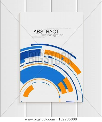 Stock vector brochure in abstract style. Design business template with yellow round, blue rectangular shapes on light gray background for printed material, element, web sites, cards, covers, wallpaper