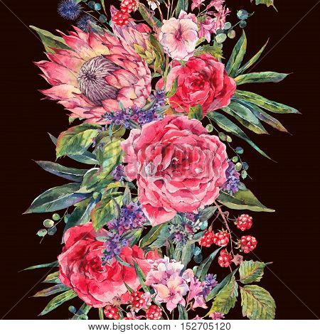Classical vintage floral seamless border, watercolor bouquet of roses, protea, stachys, thistles, blackberries and wildflowers, botanical natural watercolor illustration isolated on black background