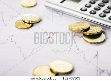 Diagram shows the trend of a course and is surrounded by coins and a calculator.