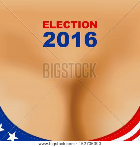 USA 2016 presidential election poster. Woman breast bra.