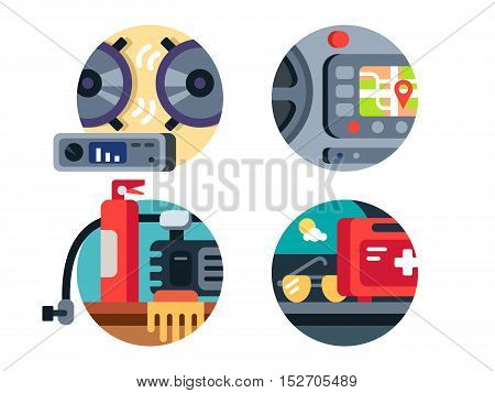 Automotive accessories, first aid kit and fire extinguisher, stereo or gps navigation. Vector illustration