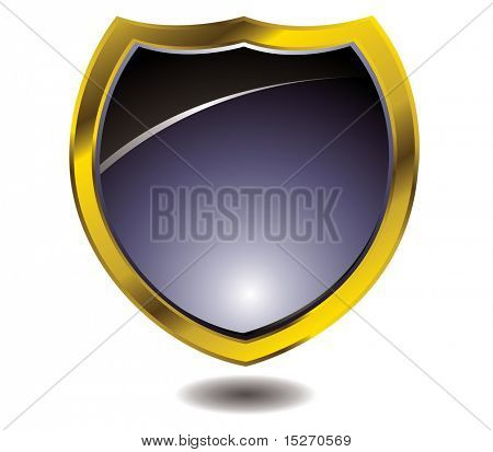 Modern shield design with drop shadow and a gold bevel