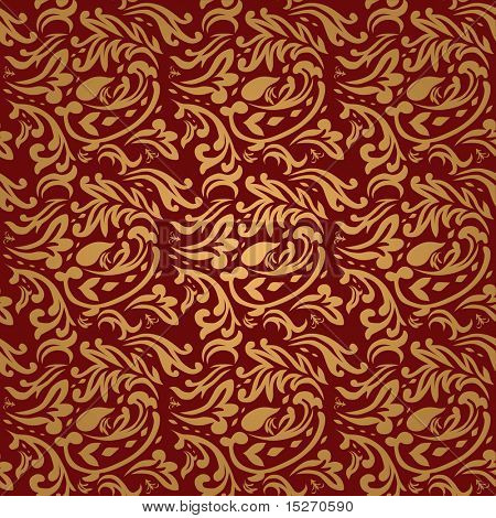 Gothic style maroon and gold background that seamless repeat