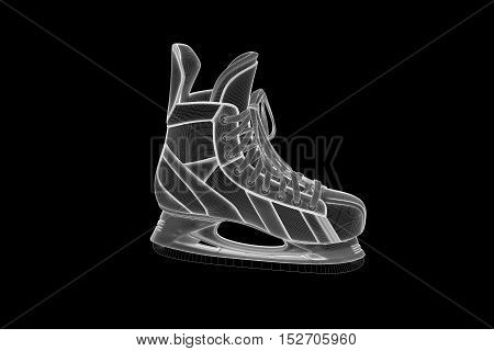 Ice Skate in Hologram Wireframe Style. Nice 3D Rendering