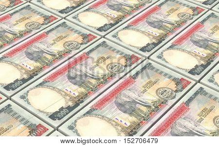 Nepalese rupee bills stacks background. 3D illustration.