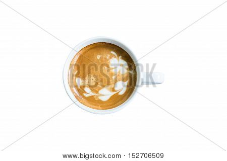 top view latte coffee cup on background with clippig path
